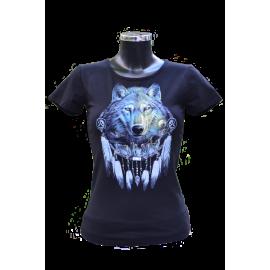 Női póló farkas mintával