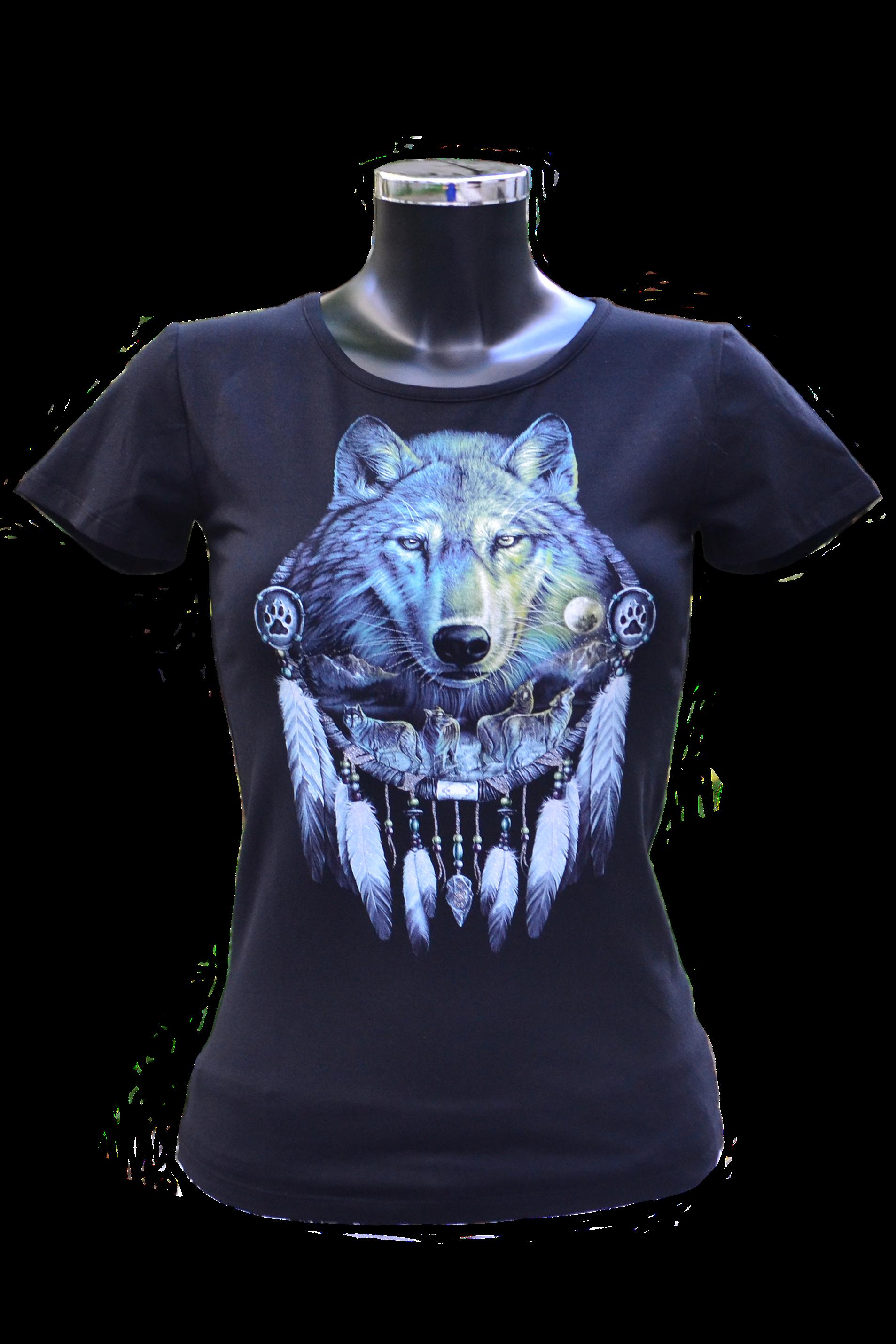 Női szabású farkas mintás póló
