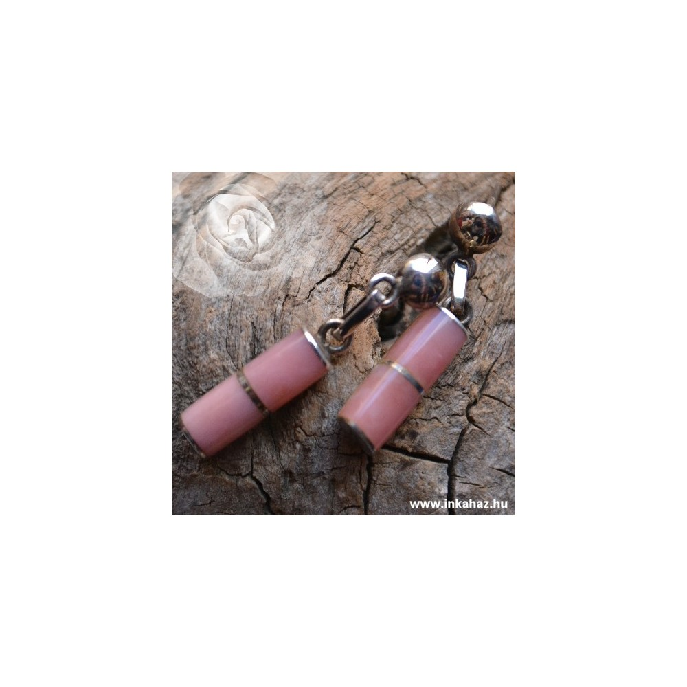 Ezüst fülbevaló Rózsakvarc kővel