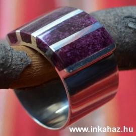 Ezüst gyűrű lila színű osztriga héj díszítéssel
