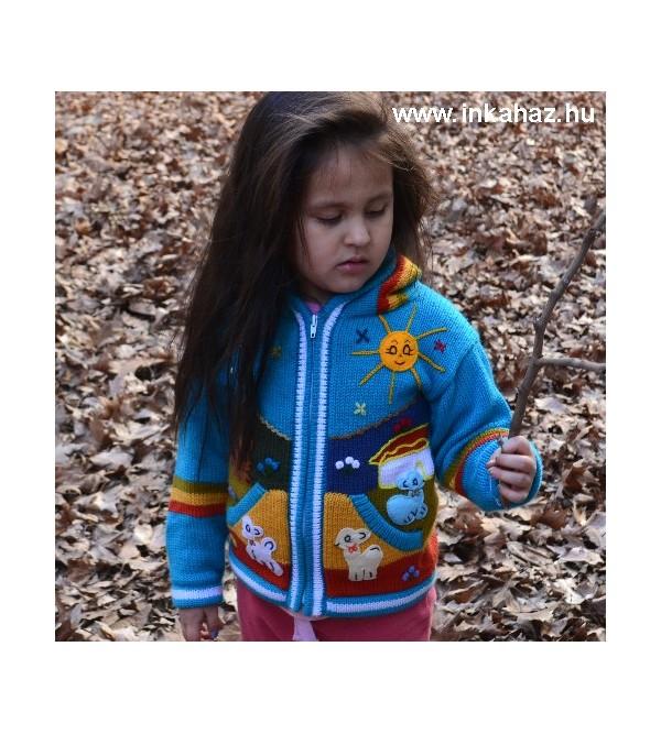 Kék gyerek kardigán