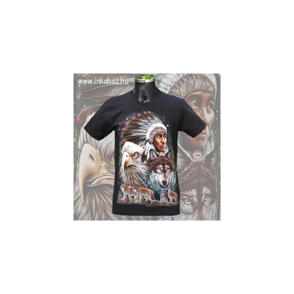 Pamut póló indián,farkas és sas mintával
