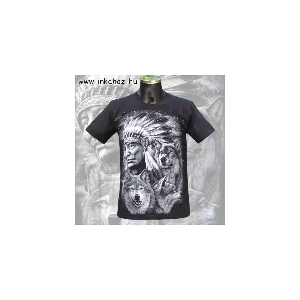 Pamut póló indián és farkas mintával