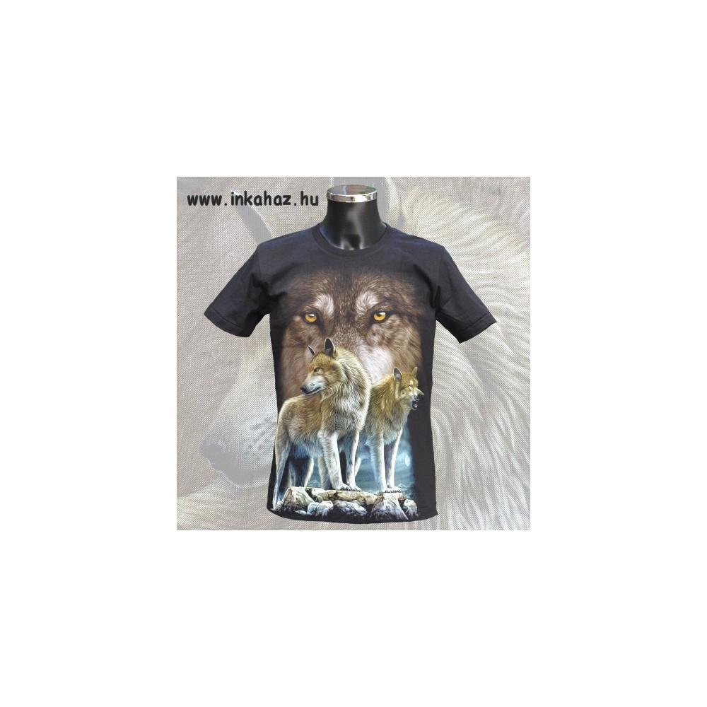 Pamut póló színes farkas mintával