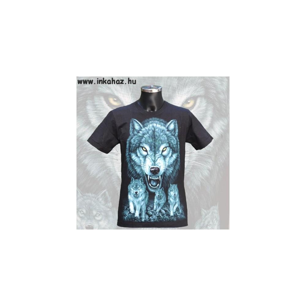 Pamut póló farkas mintával
